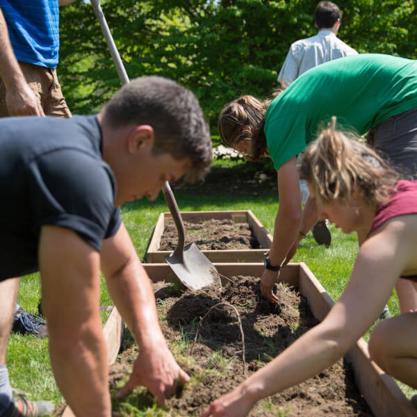 Students work in demonstration garden located on the Allendale campus.