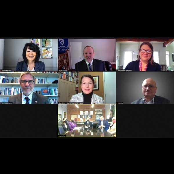 Zoom meeting screenshot of President Mantella, PIC leaders and Cracow University of Economic leaders