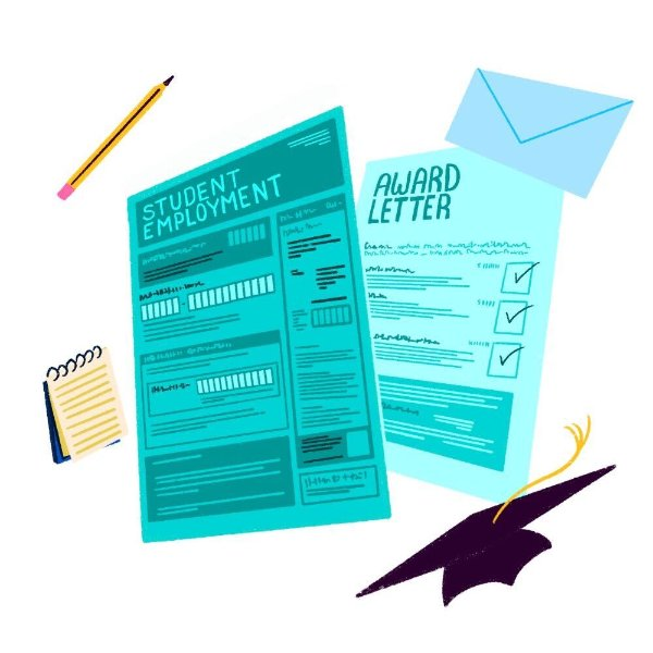 A graphic showing an award letter and student employment form.