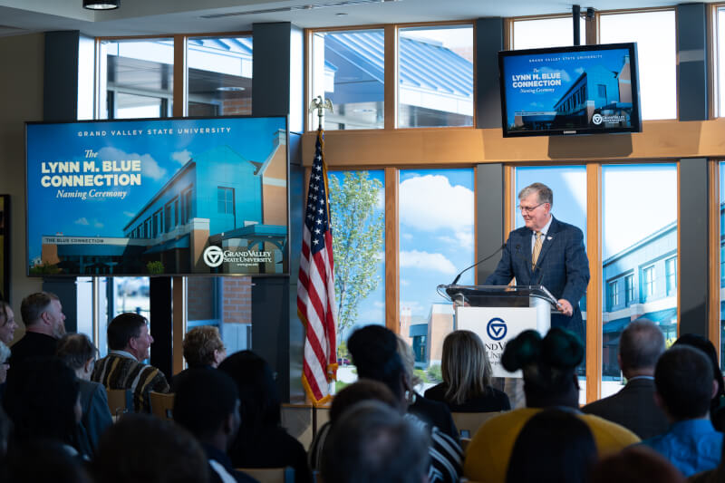President Thomas J. Haas makes remarks during the naming ceremony for the Lynn M. Blue Connection.