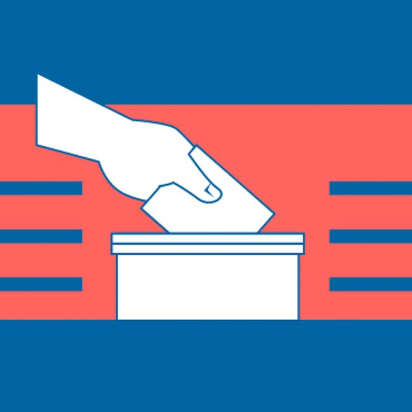 image of hand dropping ballot into box