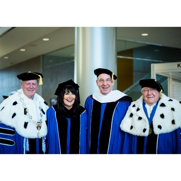 GVSU President Philomena V. Mantella and former presidents Thomas Haas, Mark Murray and Arend Lubbers