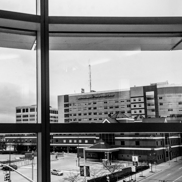 black and white photo taken from the CHS building looking south on Michigan Avenue to Spectrum Health