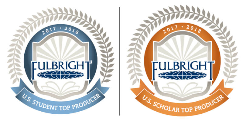 "Two logos from the Fulbright organization recognizing GVSU's ""top producer"" status for 2017-18."