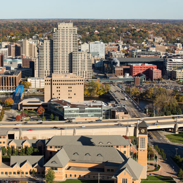 An aerial photo of downtown Grand Rapids