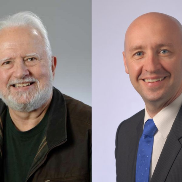 Headshots of  Dr. Stuart Youngner, left, and Dr. Gabriel Bosslet