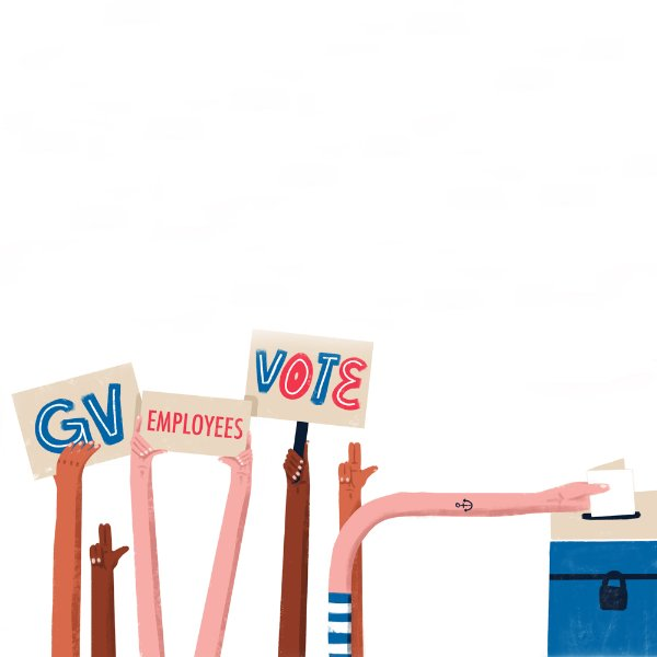 graphic illustration of vote signs and hand going to ballot box