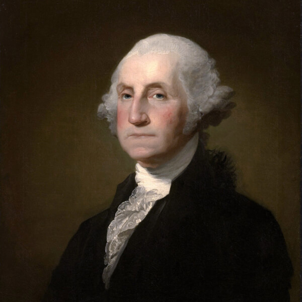 A historical painting of President George Washington