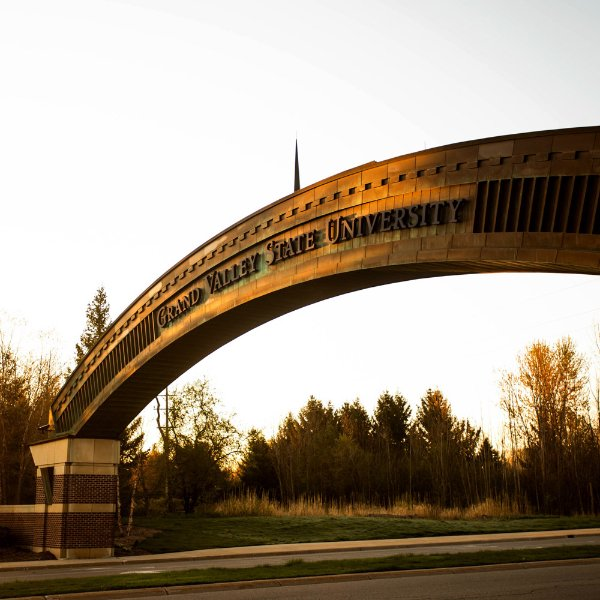 The arch before GVSU's Allendale Campus is pictured.