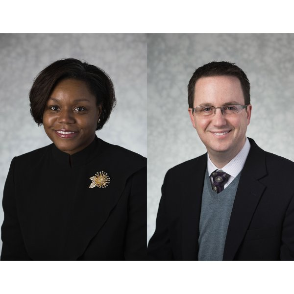 Chasity Bailey-Fakhoury, associate professor of Educational Foundations, and Aaron Lowen, professor of economics and finance department chair.