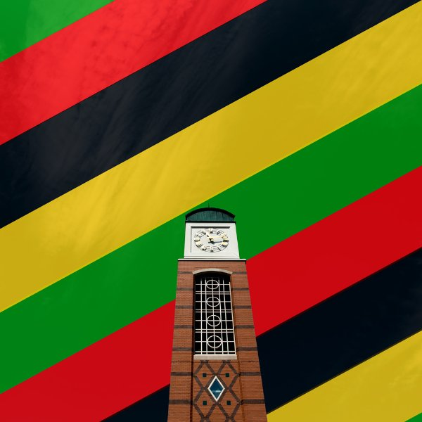 Cook Carillon Tower against background of green, red, black and yellow stripes, to indicate Black History Month