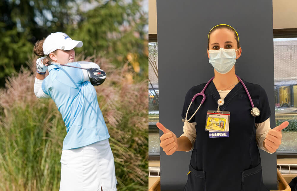 side by side photo of golfer and woman in medical scrubs