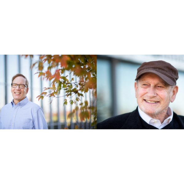 Portraits of Gregg Dimkoff and Roger Ellis, both standing outside