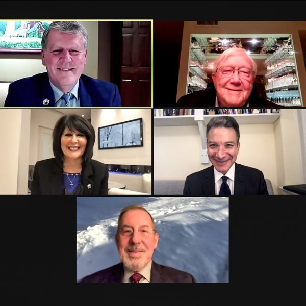 Current and former GVSU Presidents Haas, Lubbers, Mantella, and Murray, along with Jeffrey Rosen in a Zoom webinar screen.