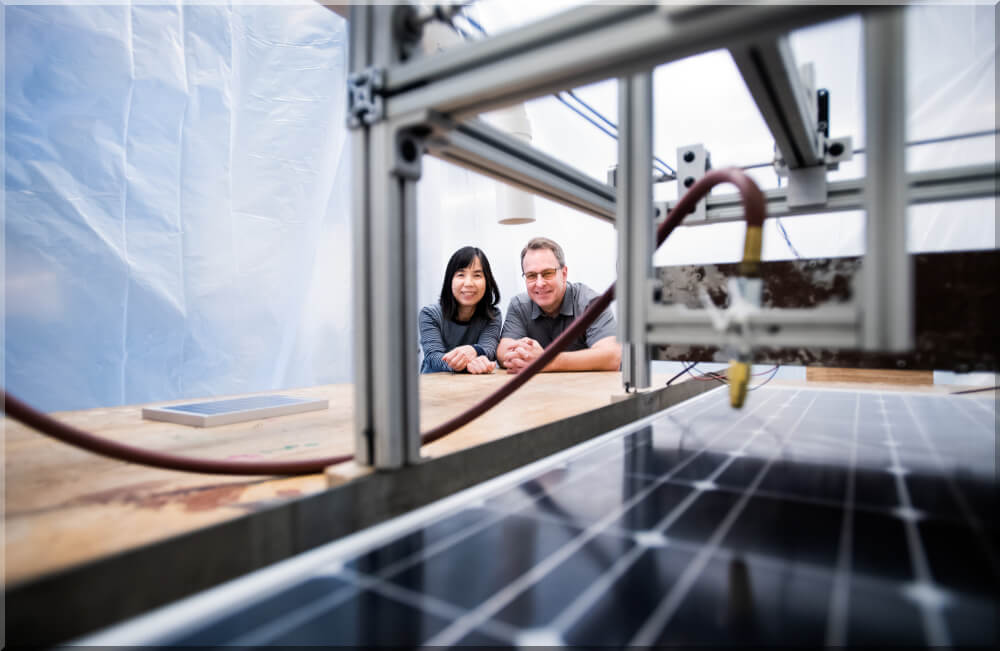 Engineering faculty and students are conducting research on coatings to protect solar panels.