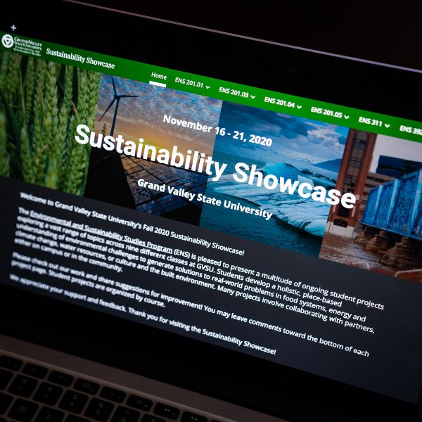 A computer showing the website for the virtual sustainability showcase