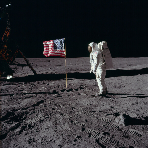 An image from the July 1969 moon landing.