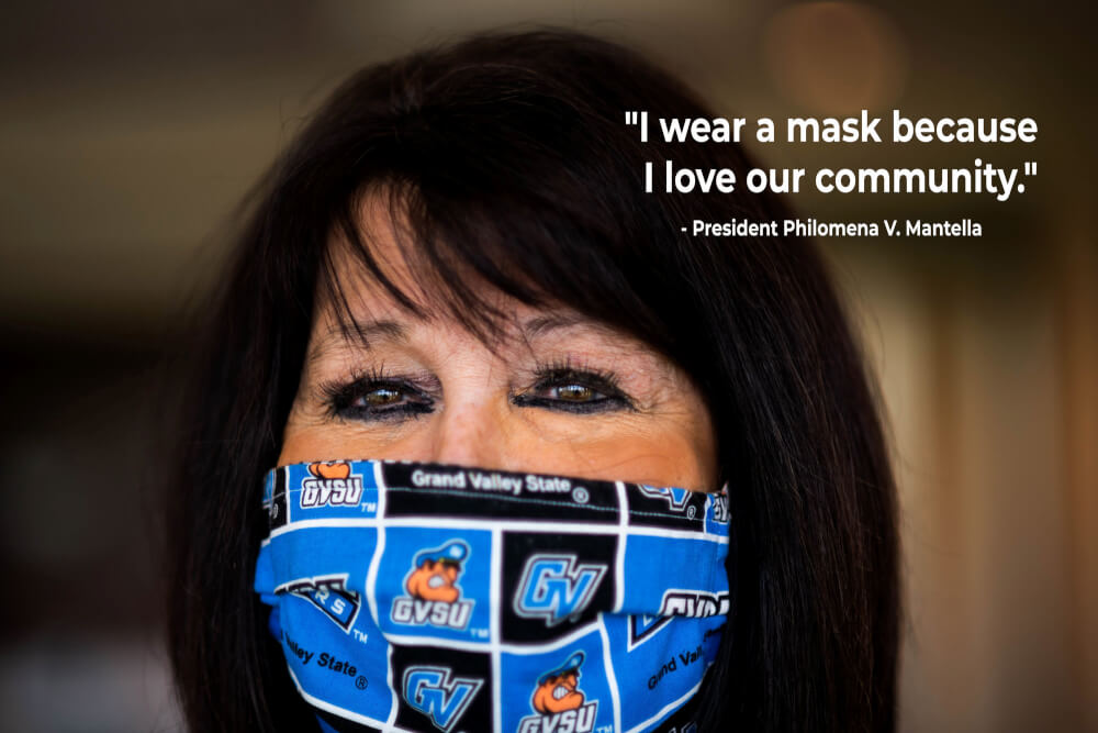 Photo of President Mantella wearing a face covering.