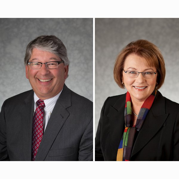 Tom Butcher, general counsel, and Karen Loth, vice president for University Development.