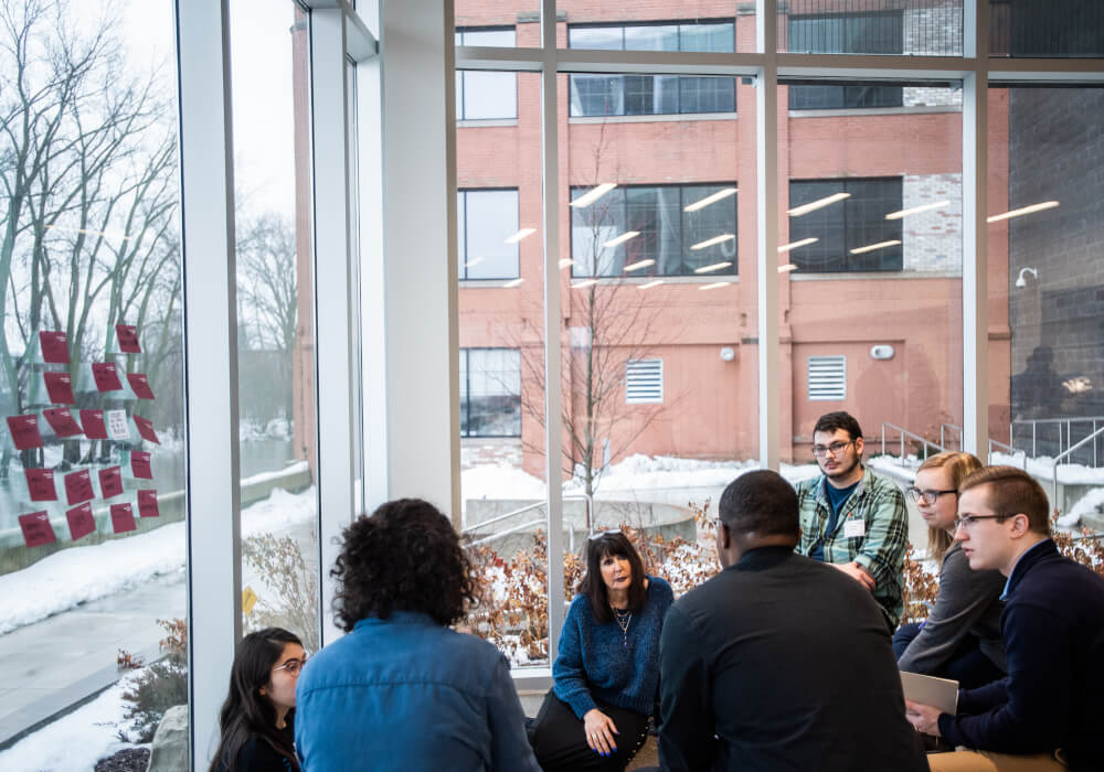 President Philomena V. Mantella with students at a design thinking workshop on the Pew Grand Rapids Campus January 24.