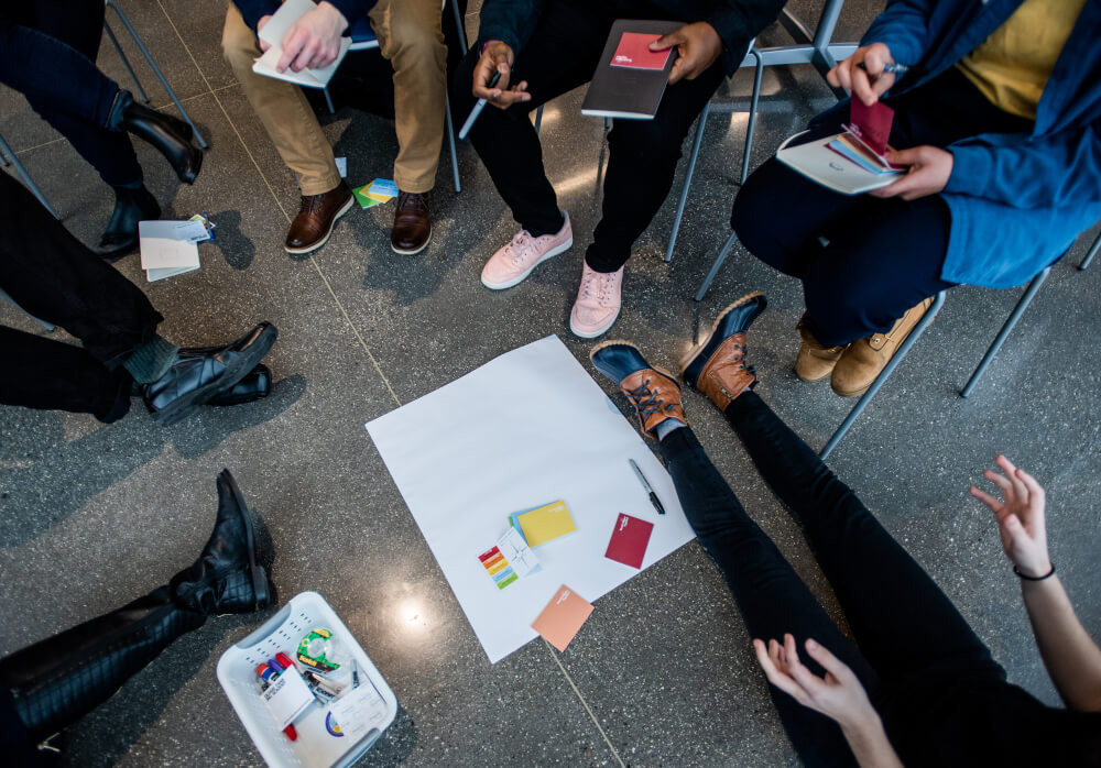 Students participate in a design thinking workshop on the Pew Grand Rapids Campus January 24.