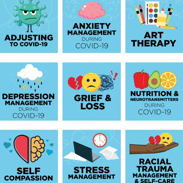"Several icons with blue backgrounds that say a variety of things like ""adjusting to COVID-19"" and ""Grief & Loss"""