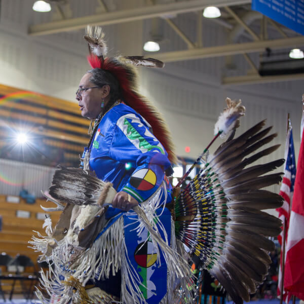 A photo from a pow wow at GVSU.