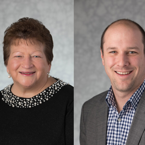 headshots: Rosemary Cleveland and Andrew Korich