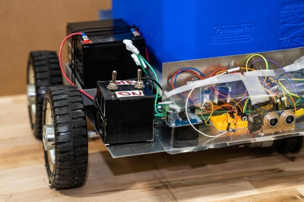 A robotic cooler, on display at a senior engineering project day in 2019.
