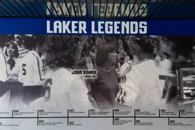 display wall Laker Legends named for Joan Boand 1966-1999