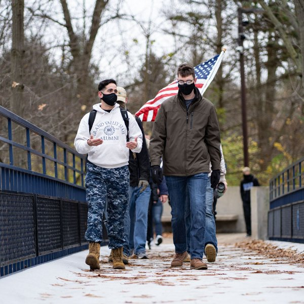 Student veterans taking a hike on the Allendale Campus on Veterans Day.