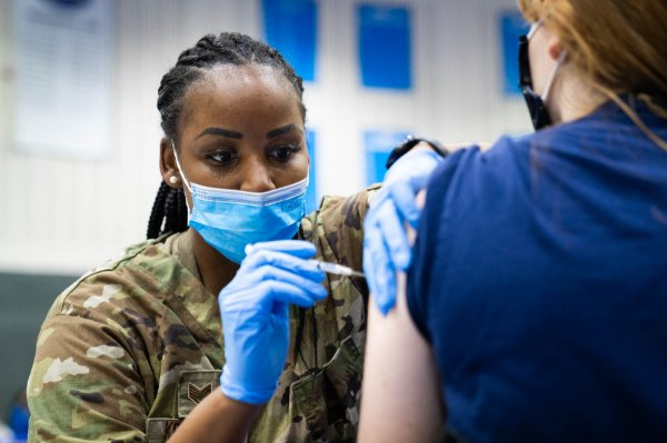 Members of the National Guard helped administer the Pfizer vaccine at the GVSU clinic held in the Fieldhouse.