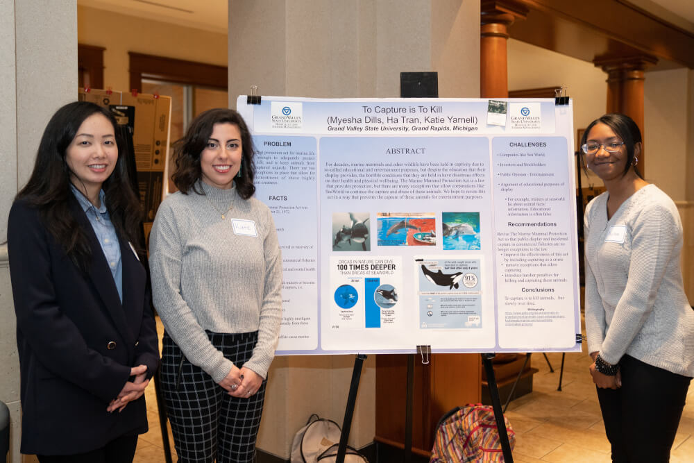 Ha Tran, Myesha Dills and Katie Yarnell worked together on research about protecting marine life.