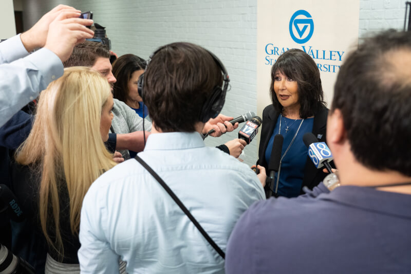 Mantella fields questions from the media following the Board of Trustees meeting.