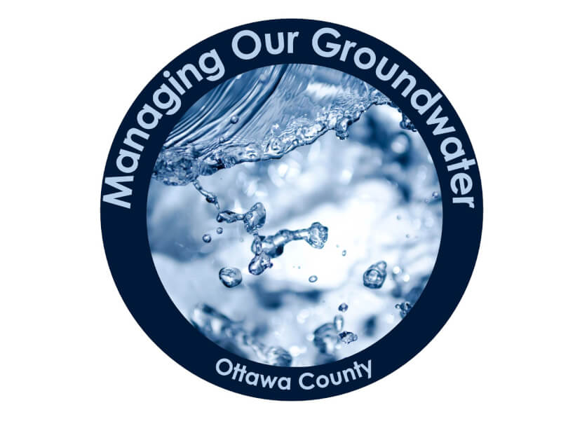 "A logo for the groundwater management plan that says ""Managing our groundwater - Ottawa County"" and shows a stock photo of splashing water."