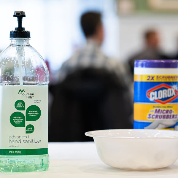 Photo of hand sanitizer on table.