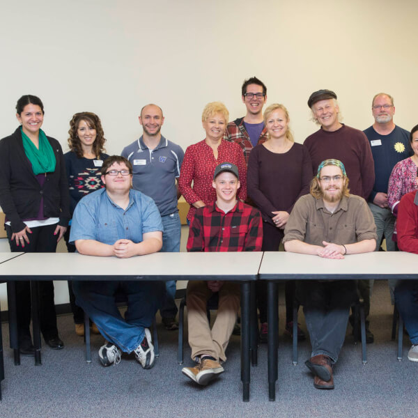 North Central Michigan College faculty members Kerri Finlayson and Seamus Norgaard (middle row, center) and six students met Grand Valley faculty and staff members who are involved in campus sustainability efforts.