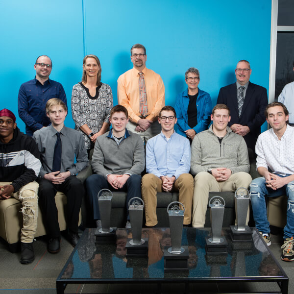 The finalists for the Lakeshore Innovator of the Year award pose for a photograph at the Muskegon Innovation Hub
