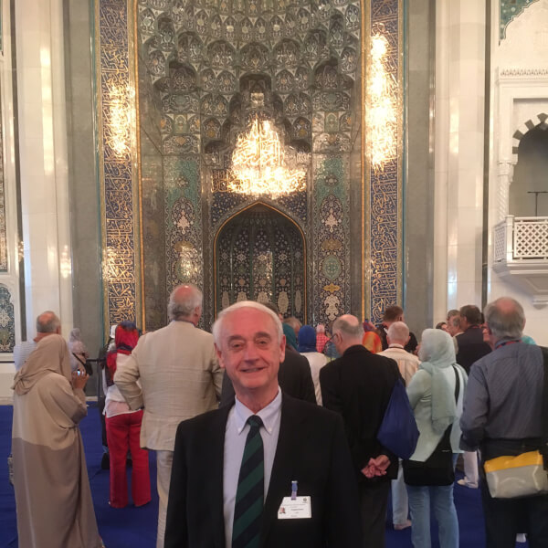 Doug Kindschi pictured in Sultan Qaboos Mosque in Muscat, Oman. Photo courtesy Kindschi.