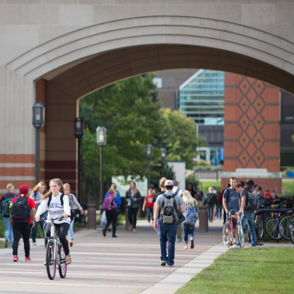 Picture of students walking on the Allendale Campus.