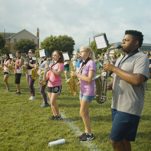 The Laker Marching Band rehearses.
