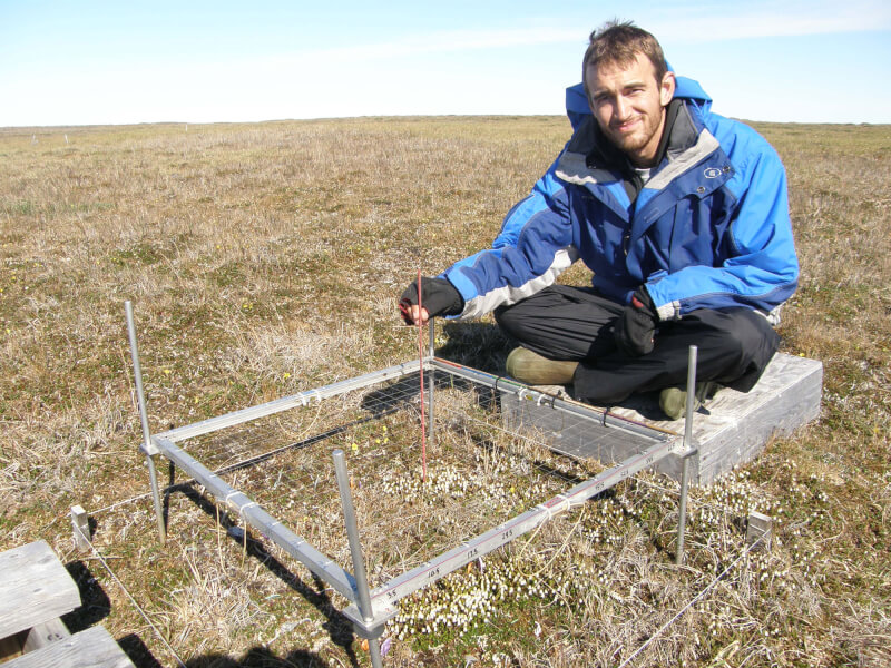 Alumnus Jeremy May sampling vegetation in Utqiagvik, Alaska.