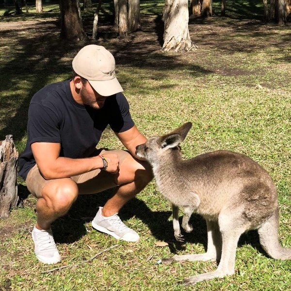 Nate Anderson pets a kangaroo in Australia