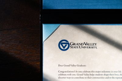 A close-up of a Grand Valley State University diploma.