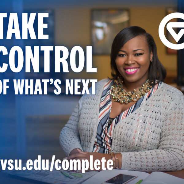 ad for degree program with text Take Control of What's Next, woman pictured