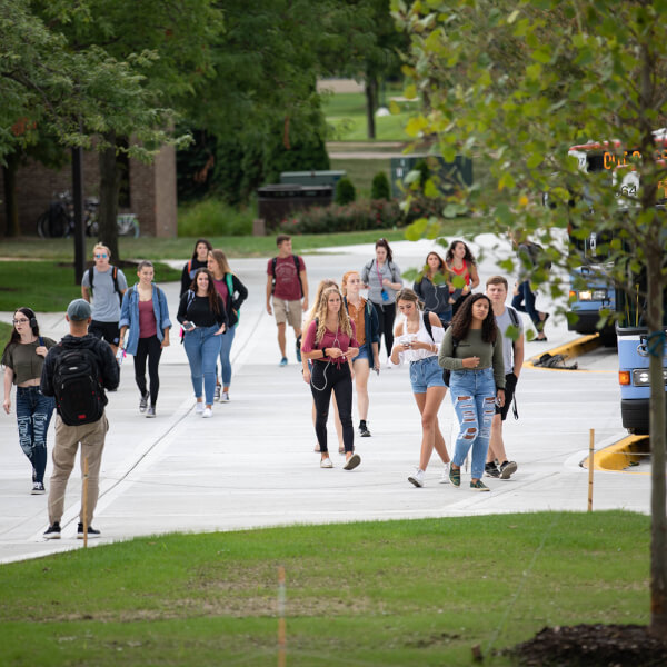 students walking on Allendale Campus