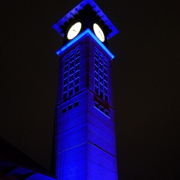 Photo of the carillon tower on the Pew Grand Rapids Campus.