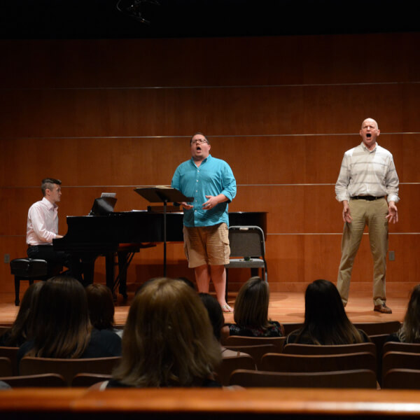 "Michael DeVries and Grand Valley student Jason Coffey singing ""Lily's Eyes"" from ""The Secret Garden"" during a rehearsal in September."