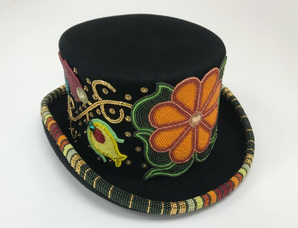 Beaded Top Hat, applique beadwork