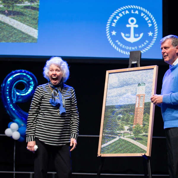 About 1,500 students packed the Fieldhouse Arena April 19 to honor President Thomas J. Haas and his wife, Marcia Haas.